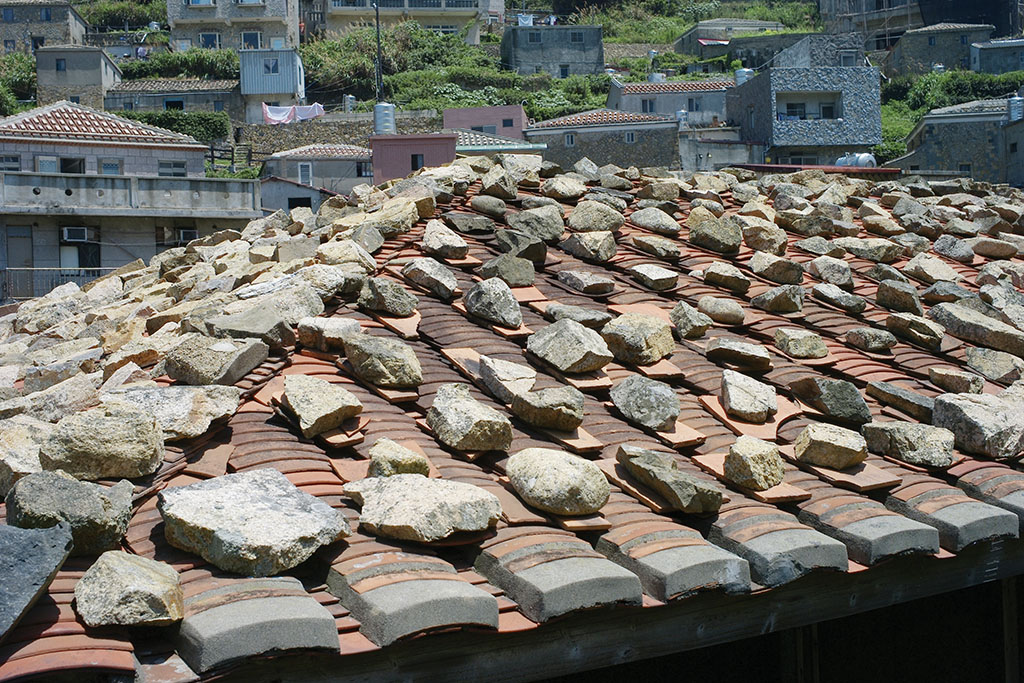 The stones on roof tiles
